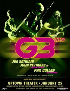 G3 Concert 2018 Presale tickets at Big Dudes Music