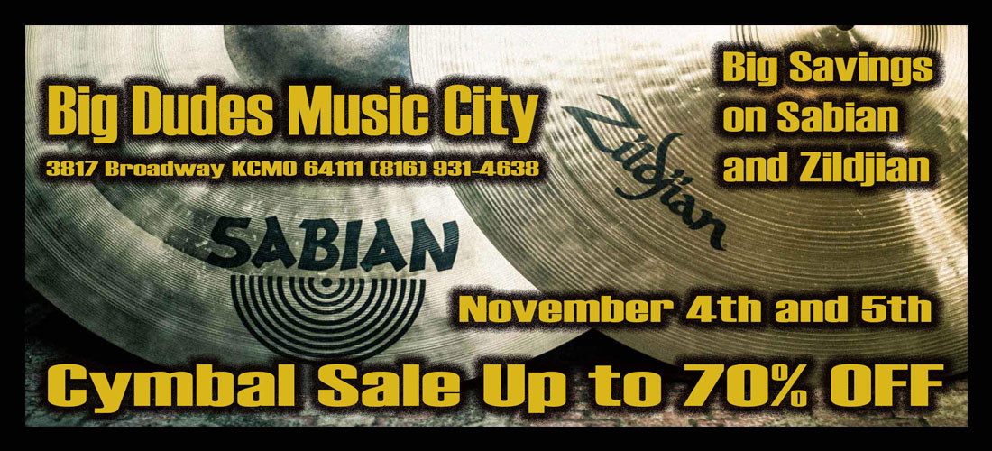 Cymbal Spectacular Nov 4th and 5th at Big Dudes Music in KCMO