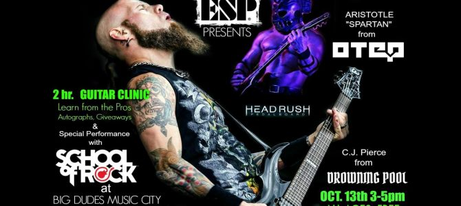 "ESP & Headrush Guitar Clinic with with CJ Pierce of ""DROWNING POOL"", Aristotle ""SPARTAN""  from ""OTEP"" with a special performance from The ""School of Rock"" at Big Dudes Music City 10/13/2018"