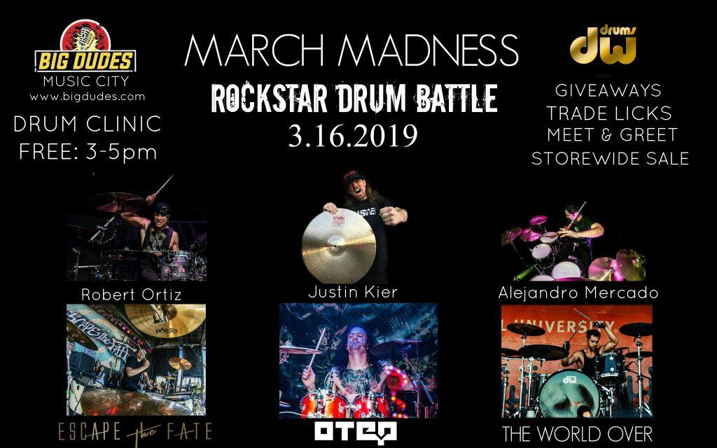 Rockstar drum battle at big dudes music city